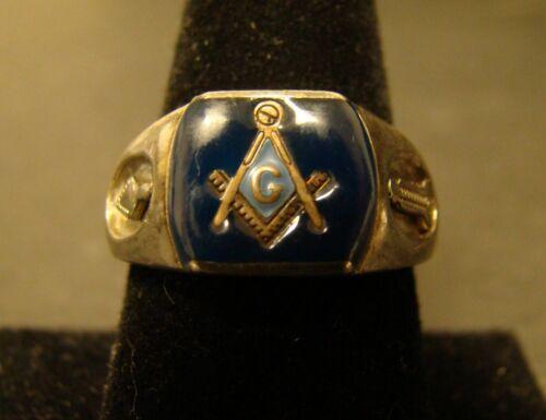 Masonic Enamel Ring  Logo Blue Enamel Size 10 Men