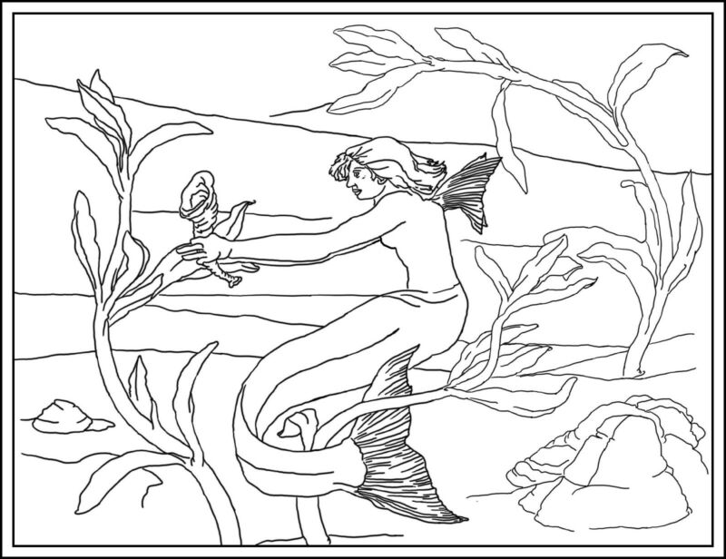 "Rug Hooking Pattern ""SHELLEY""  on natural linen"