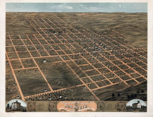 1869 MONMOUTH Warren County panoramic ILLINOIS map IL39