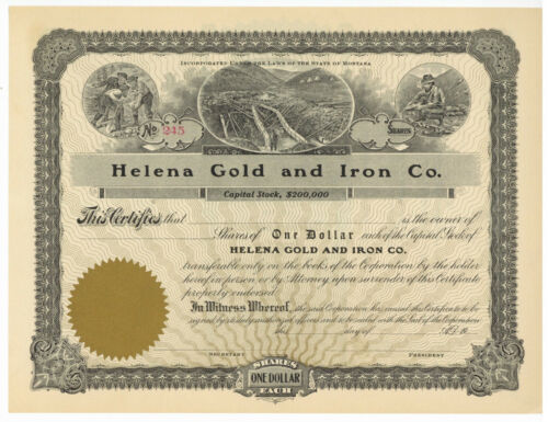 Helena Gold and Iron Co. Stock Certificate. Montana