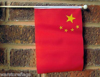 "CHINA Medium HAND WAVING FLAG 9"" X 6"" with 10"" pole CHINESE BEIJING COMMUNIST"