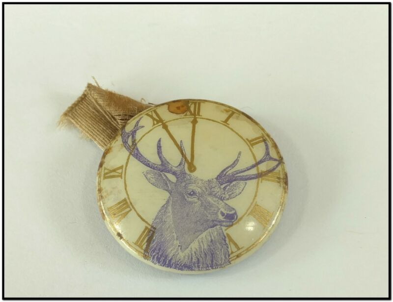 VTG 1940 BPOE Elks Fraternal Badge Pinback Celluloid Button 11th Hour Toast Pin