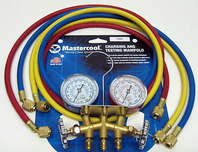 33661 Mastercool Hvac Air Conditioning Refrigeration Manifold Gauges W 60 Hoses