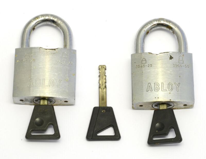2 ABLOY 3545-25 padlocks with 3 keys