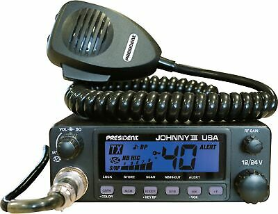 President Johnny III USA 40 Channel CB Radio 12 or 24V, Blac