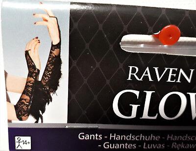 Handschuhe für Kostüm Raben Feder Pailletten Gothic Halloween