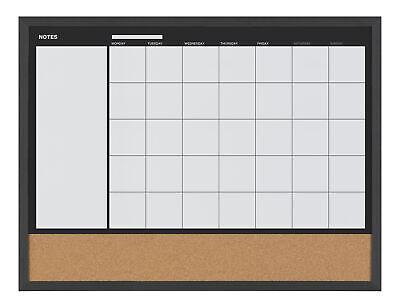 Mastervision 3-in-1 Dry-erase Calendar Planner Board 18 X 24 Black Frame