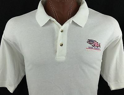 Bass Fishing An American Tradition White Embroidered Polo Shirt 100% Cotton XL ()