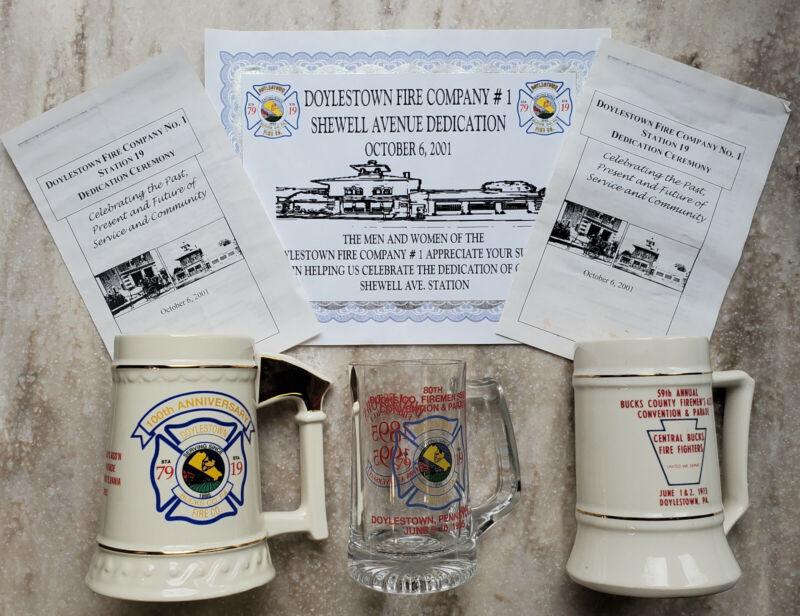 3 Mugs/Steins; Doylestown Fire Co. #1, Bucks County Firemen