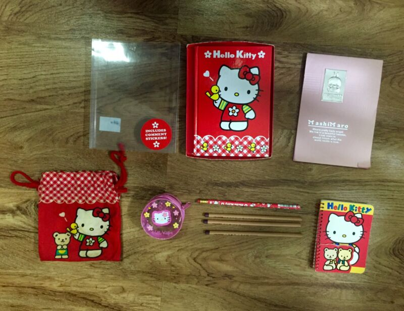 Hello Kitty Japan Collectible Lot, Pencils, Notebook, Bag, MashiMaro Notepad