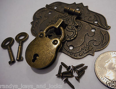 Small Chest Hasp With Lock and Keys - Reproduction Jewelry Box Hasp ~ Latch