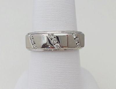 ZALES 1/4CT MENS DIAMOND WEDDING BAND RING 14K WHITE GOLD