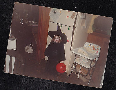 Vintage Photograph Little Girl in Creepy Witch Costume - - Creepy Little Girl Halloween Costume