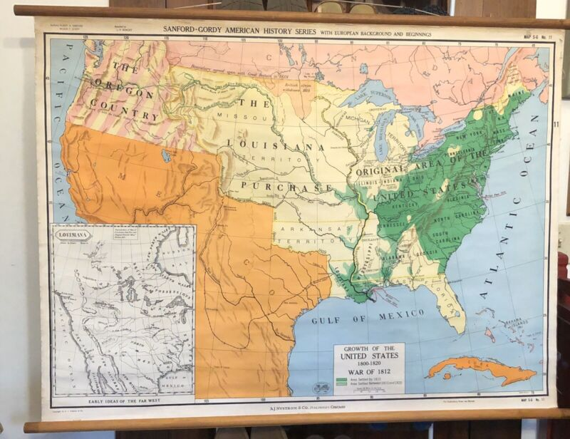 A J Nystrom American History w/ European Background & Beginnings Pull Down Map