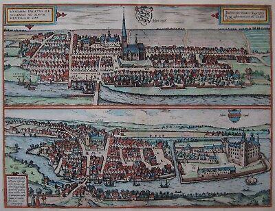 Husemum / Haderslebia - Husum / Hadersleben - Braun und Hogenberg 1580 -Original