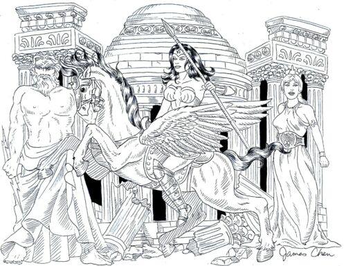 THE CREATION OF WONDER WOMAN ORIGINAL COMIC ART BY COMIC ARTIST JAMES CHEN