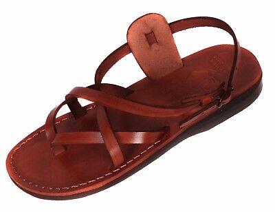 Camel Jesus Sandals Brown Genuine Leather Greek Roman For Men US 5-12 EU - Mens Roman Sandals