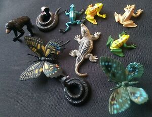 Rainforest jungle wild plastic animals crocodile frog snake Ape FREE POST D90