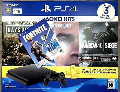 PS4 PlayStation 4 Slim Hits 5 Bundle Days Gone+Detroit+Rainbows6+Fortnite 500V B