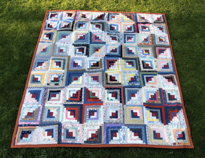 Antique Log Cabin Quilt Hand Pieced Beautiful Fabrics 72 x 82 inches