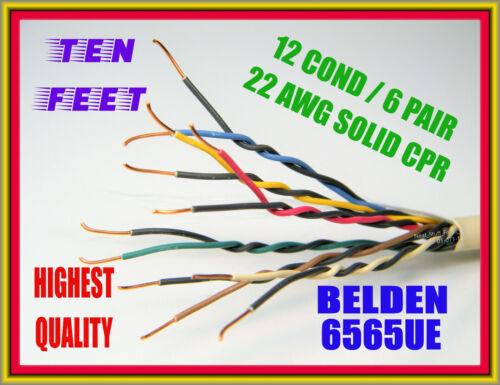 BELDEN 6565UE WIRE, 12-COND / 6 PAIR 22 AWG,MULTI-CONDUCTOR, PLENUM, 10-FEET