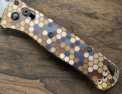 HONEYCOMB Ano Custom Titanium Scales for Benchmade Bugout 535 Folding Knife