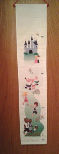 """Kids fabric wall hanging Growth Chart with wooden dowels 24"""" to 60"""" - NIP"""