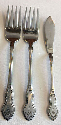 3 ONEIDA COUNTRY MEDLEY PATTERN SALAD FORKS + BUTTER KNIFE STAINLESS FLATWARE
