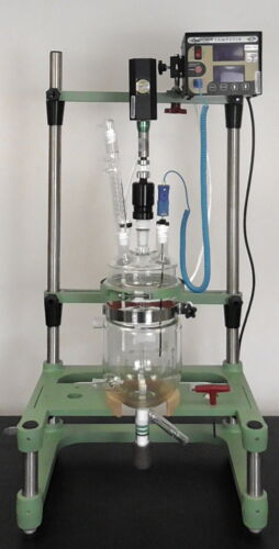 Chemglass 2 Liter Jacketed Glass Bio Reactor + OptiChem Digital Overhead Stirrer