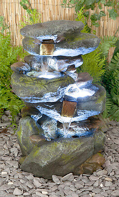 Rock Effect Cascade Water Feature Fountain Tier Tiered Waterfall With LED Lights