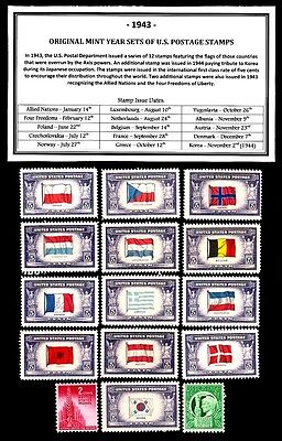 1943 COMPLETE YEAR SET OF MINT -MNH- VINTAGE U.S. POSTAGE STAMPS