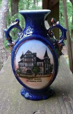 MISSISSIPPI SOUVENIR CHINA VASE-Cobalt Blue-Public School-Aberdeen-1910s
