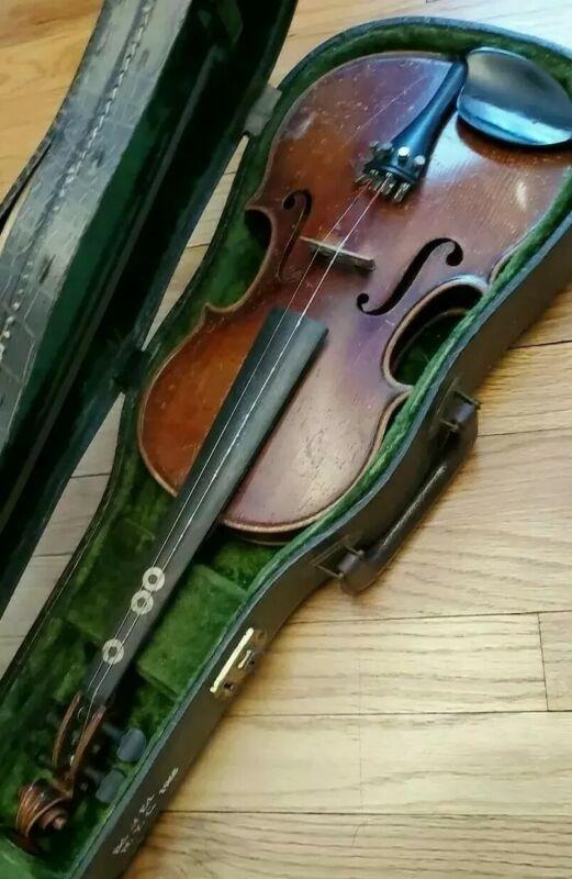 """VINTAGE John Juzek Prague Czech Violin 3/4 Instrument W/Bow in Hard Case """"AS IS"""""""