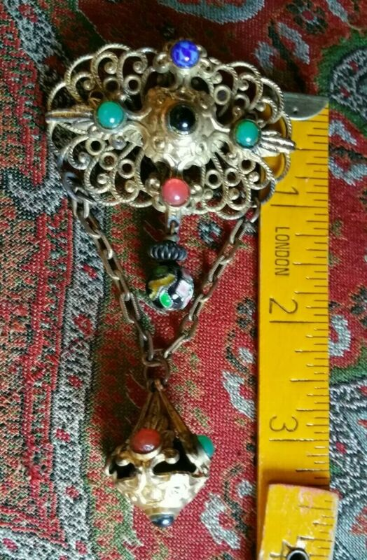 Vintage Czech Brooch Filigree Art Deco Multi Color Statement Pin