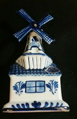 "Delft Porcelain Windmill Music Box ""Tulips From Amsterdam"" Handpainted Holland"