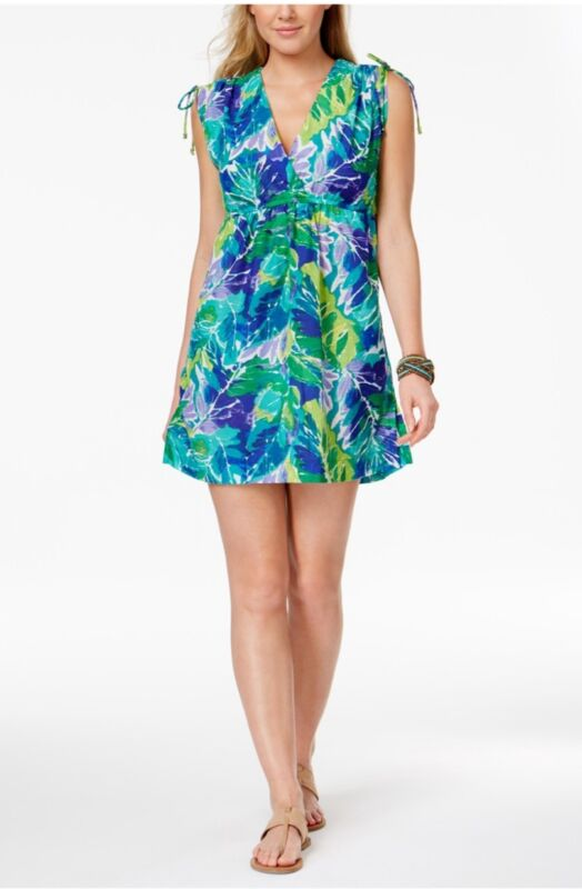 Ralph Lauren green blue tropical print swimsuit cover up dress M