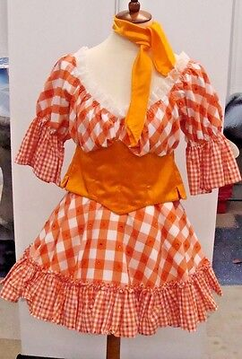 Women Orange Gingham Check Cow Girl Costume Farm Hand Fancy Dress Country Rodeo ](Cow Costume For Women)