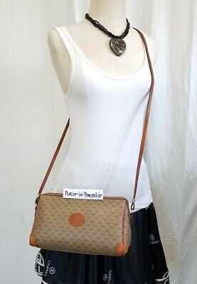 Vintage Gucci Crossbody Bag Purse GG Monogram Web 80s Vinyl PVC Authentic VGC