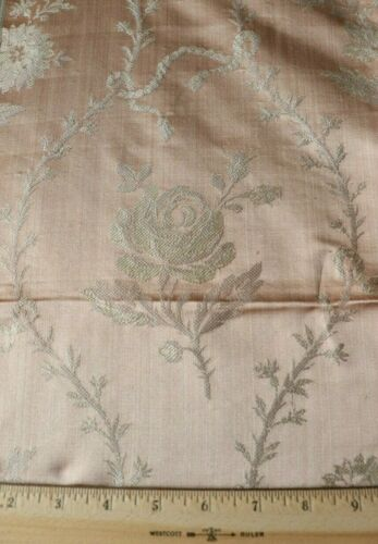 """French Antique C1880 Woven Peach Silk Lampas Fabric~Floral Frame,Ribbons~30""""X20"""""""