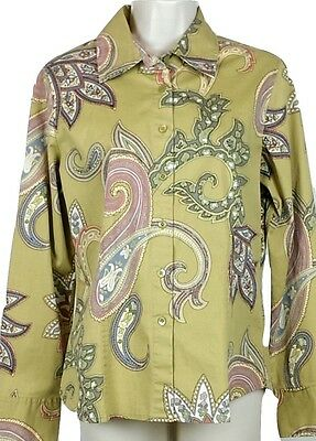 Talbots Stretch Womens Long Sleeve Button Front Paisley Blouse Size Small