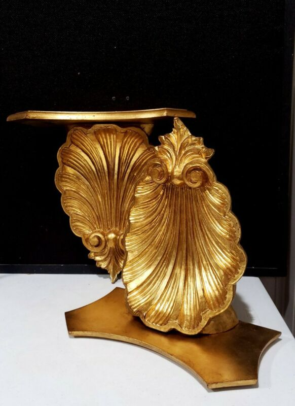 Pair Large Vintage Gold Italy Florentine Shell Wall Shelf Hollywood Regency
