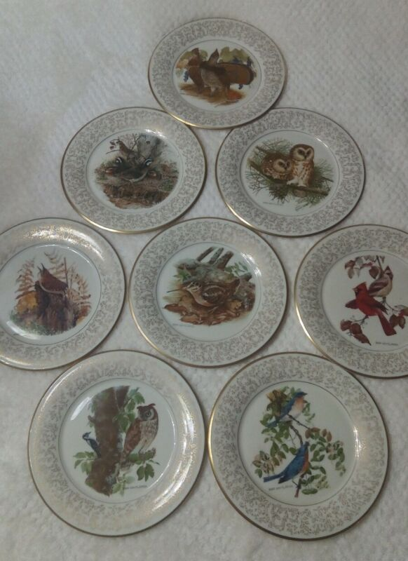 """8 pcs Gorham fine china 11"""" Platesby Don Whitlatch. Limited edition."""