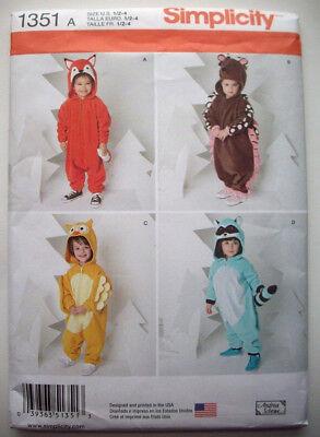 Toddler Hedgehog owl raccoon fox costume pattern 1351 size 1/2 1 2 3 4 uncut - Hedgehog Costume Pattern