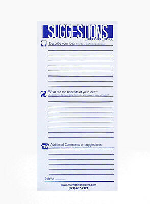 25 Suggestion Survey Box Cards Form 3.5w X 8.5h Improvement Cards Qty 50