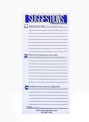 25 Suggestion Survey Box Cards Form 3.5w X 8.5h Continuous Improvement Cards