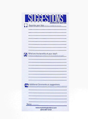 25 Suggestion Survey Box Cards Form 3.5w X 8.5h Improvement Cards Lot Of 24