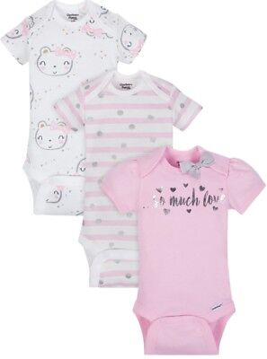 "GERBER BABY GIRL Organic Cotton Onesies Bodysuits 3-Pack - Pink - ""So Much Love"""