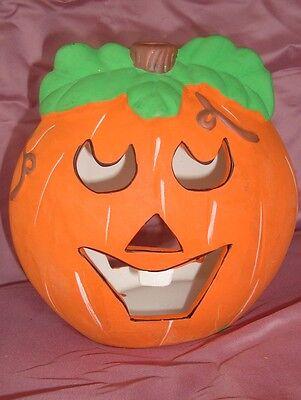 Déco Halloween citrouille photophore en platre (18x19cm)