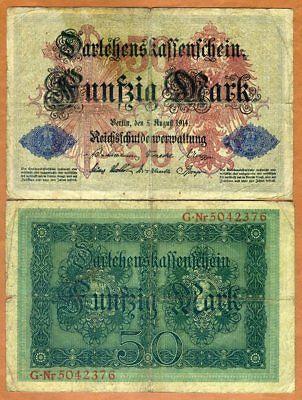 Germany, 50 Mark, 1914, P-49b 7-digit S/n, G