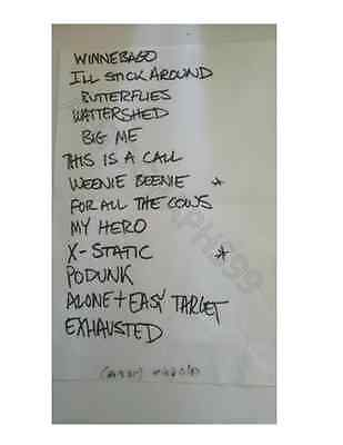 FOO FIGHTERS HANDWRITTEN SETLIST 1995 COA! DAVE GROHL NIRVANA NOT SIGNED